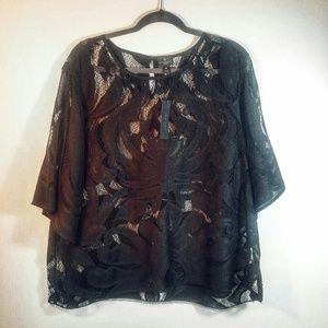 Worthington Sheer Black Lace Top Size 2X